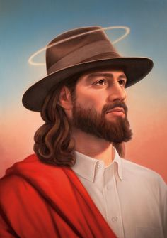 Jesus Fedora for GQ illustration by Tim O'Brien