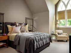 Luxury bedroom with large bed