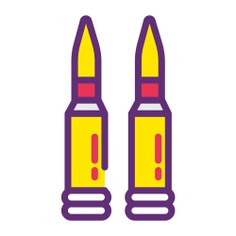 See more icon inspiration related to gun, shoot, bullet, war, shot, ammunition, miscellaneous, cartridge, bullets, crime, weapon and security on Flaticon.