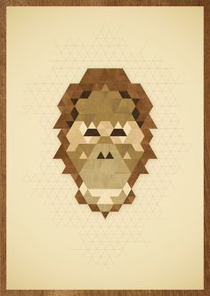 ANIMAL PORTRAITS #orangutan #wood #illustration #poster