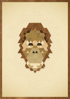 ANIMAL PORTRAITS #orangutan #wood #illustration #poster