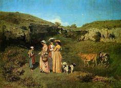 """The village maidens Gustave\"" a painting by Courbet"