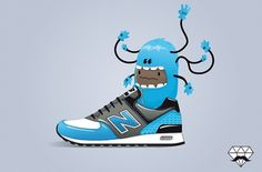 Sneaker's lover on the Behance Network #trainer #shoe #illustration #balance #character #new