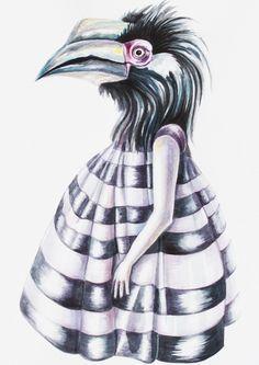 Water colour art by Nastya KFKS, KFKS STORE. #watercolor #bird #girl #lady #fashion #art #drawing #nyc #newyork