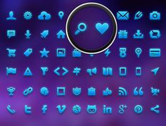 Icon Pack for Mobile & Web #graphics #icon #design #icons #blue