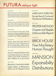 Futura light italic type specimen #type #specimen #typography