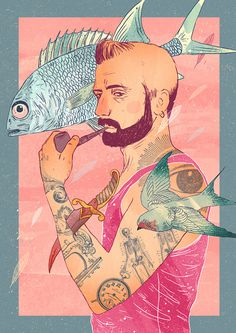 boy with clipart tattoo #oldschool #fish #hipster #williansantiago #bird #tattoo #vintage #poster #watercolor