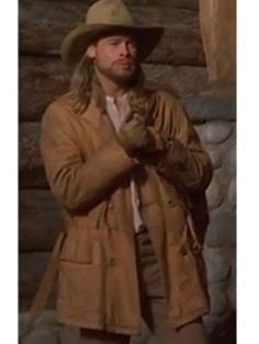 """The sweeping, #melodramatic saga of three brothers, their powerful father, and a #beautiful #woman, the popular period drama """"Legends of the Fall"""". See Brad Pitt Leather Coat, He performed as Tristan Ludlow. #bradpitt #legendsofthefall #leathercoat #film #drama #tristanludlow #browncoat #brownleathercoat #style #fashion"""