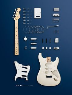 electricized: Strat in a kit, also known as Fender-Ikea… Pretty. There always something sexy about deconstruction. via theplanetofsound