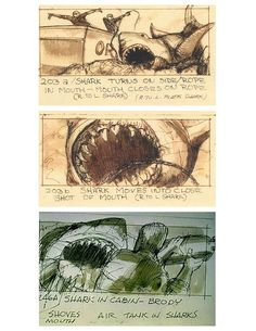 Jaws :: Movie storyboards expose fascinating insight into famous films. #storyboard #teeth #fish #shark #jaws #illustration #concept #attack #boat #spielberg #film #monster
