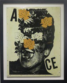 A.CE Rainflower Yellow      Year 2014     Medium Acrylic and Spray Paint on Wood with Varnish