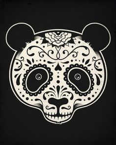 Day of the Dead Panda--Enkel Dika #illustration #skull #black white #panda #da #de #los #muertos