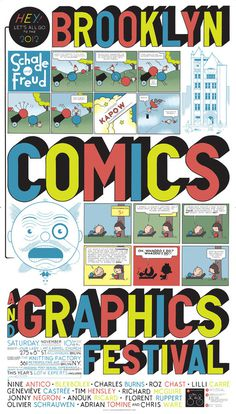 Brooklyn Comics and Graphics Festival 50 Watts #vector #festival #graphics #illustration #type #comics #typography