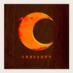 C is for Crescent #circle #lunar #luna #flag #illustration #distressed #type #moon
