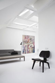 White attic living space. Copenhagen Townhouse II by Norm Architects. © Jonas Bjerre-Poulsen. #attic