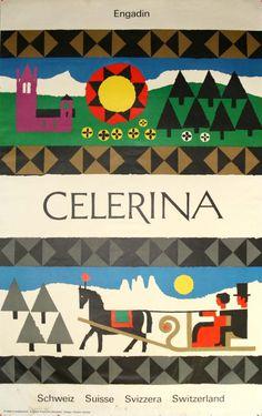 Swiss poster by Robert Geisser, 1960s #sun #horse #robert #geisser #cityscape #landscape #poster #engadina #celerina #winter