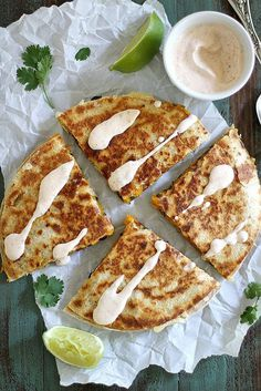 Black Bean Butternut Squash Quesadillas with Chipotle Lime Crema #quesadilla