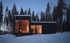 Modern four-cornered villa from Avanto Architects #avanto #four #architects #cornered #finland #wood #cottage #architecture #villa #winter