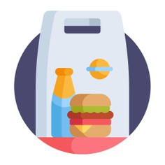 See more icon inspiration related to lunch, burger, meal, take out, food delivery, shipping and delivery, food and restaurant, take away, packaging, shopping bag, junk food, fast food and food on Flaticon.