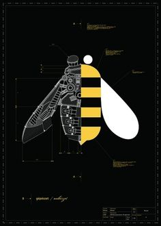 gépésztet / méhészet on the Behance Network #poster #bee #engineering #marton borzak