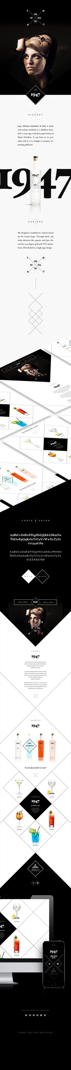 1947 is an Spanish Gin multidevice website based on the brand shape. Through black and white elements like squares and lines, the web has a