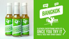 SLATHER EVERYTHING WITH BANGKOK! ONCE YOU TRY IT YOU'LL TOSS THAT OTHER SAUCE! #packaging #green #rooster #hot sauce