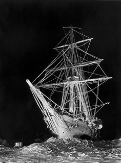 ship, ice, stuck, vintage, antique, photo, photography, night
