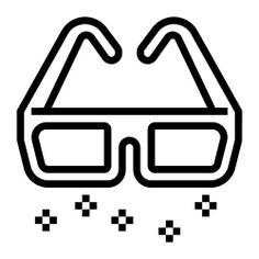 See more icon inspiration related to cinema, 3d, film, fashion, game, 3d glasses, gaming, clothing, entertainment, glasses, filming and movie on Flaticon.