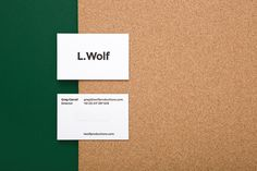 mildred & duck — l. wolf #businesscard #white #cork #design #black #green