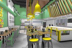 Fame, fame retail, retail, design, space, bright, bold, color, interior, burrito