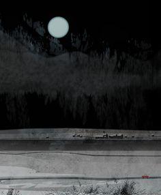 Pandagun/Kenard Pak #night #illustration #town #landscape