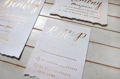 blush watercolor and gold foil invitation