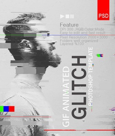 Gif Animated Glitch Effect- Photoshop Templates by safisakran