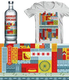 Absolut Chicago packaging design #chicago #packaging #design #illustration #usa