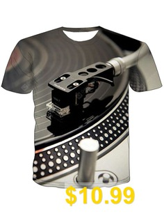 Male #Sound #Instrument #Turntable #Printed #3D #Short #Sleeve #T-shirt #- #MULTI-A