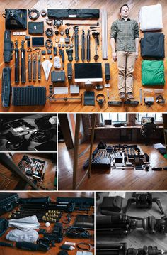 A Man & His Tools #creative #colin #design #neatly #gear #studio #stools #film #above #layout #view #organized
