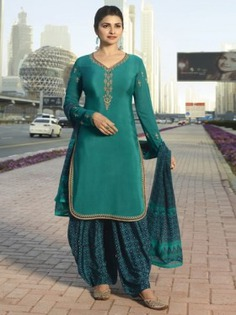 Bollywood Diva Prachi Desai Green Crepe Partywear Straight Cut Suit Online at Best Price.