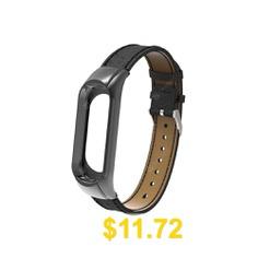 For #Xiaomi #Mi #Band #3 #Genuine #Leather #Wrist #Watch #Strap #- #BLACK