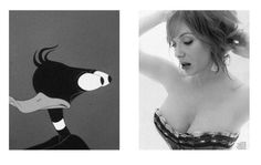 Jeepers #illustration #fashion #photography #magazine #black and white #woman #cartoon #eyes #boobs #christina hendricks #daffy #daffy duck