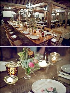 rustic decor #candles #table #flowers