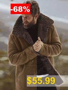 Winter #Solid #Color #Men #Coat #Warm #Wool #Wide-waisted #Long #Overcoat #- #BROWN