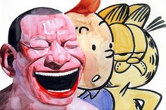 Fancy - Yue Minjun Series of Lithographs @ Carmichael Gallery #water #color #exploitation #tin #cats #mammy #blackface #garfield