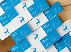 Blue Stag Business Cards #cards #print #animal #stag #branding