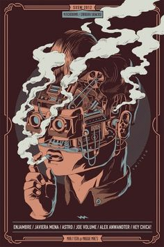 Smithe #robot #head #cables #machinery #illustration #smoking