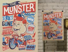 "The Monster Cream – A poster design for the ""Monsters Battle"" #monsters #illustration #poster #typography"