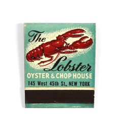 The Lobster, Oyster and Chop House Matchbook