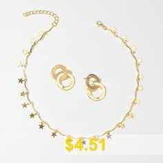 Fashion #Gold #Star #Chain #Necklace #and #Gold #Round #Ring #Pendant #Earrings #- #GOLD