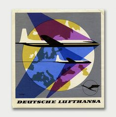 International Mid-Century Modern Luggage Labels – Part 2 / Aqua-Velvet #airplane #lufthansa #overlay