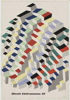 MoMA | The Collection | Giovanni Pintori. Olivetti Elettrosumma 22. 1962 #1963 #olivetti #advertisement #giovanni #pintori #photolithograph