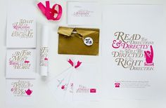 Jag Nagra is Page 84 Design #caslon #pink #invitations #gold #wonderland #typography
